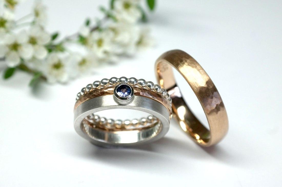Ehesteckringe-Gold-Silber-Perle-mit-Blume